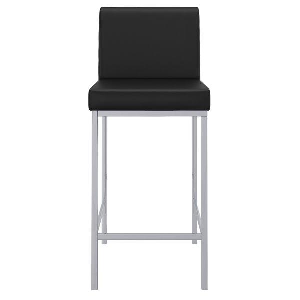 Tabouret de bar rembourré noir à hauteur de comptoir (22 po à 26 po) de !nspire, ens. de 2