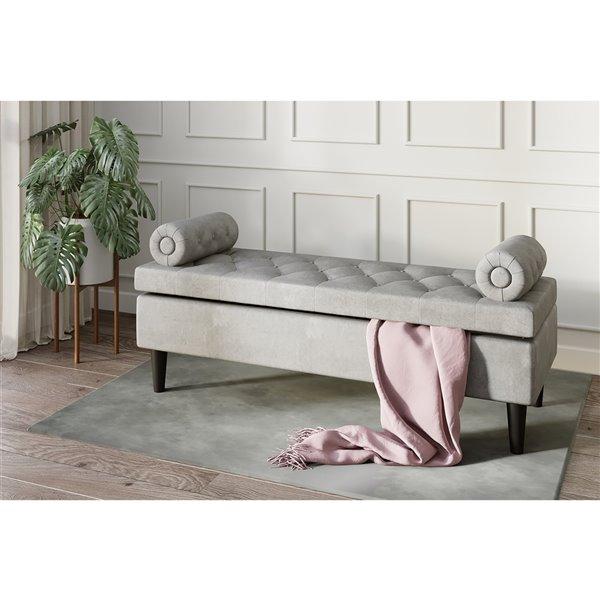 Ottoman moderne rectangulaire en polyester gris avec rangement intégré de !nspire