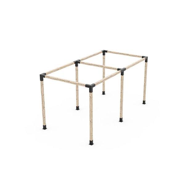 Ensemble de supports en métal noir à pergola auto-portée pour poteau de bois 4 x 4 par Toja Grid