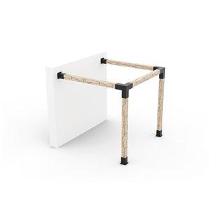 Ensemble de supports à pergola adossée en métal noir pour poteau de bois 6 x 6 par Toja Grid