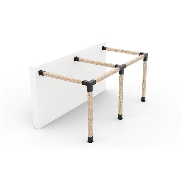 Ensemble de supports en métal noir à pergola adossée pour poteau de bois 6 x 6 par Toja Grid