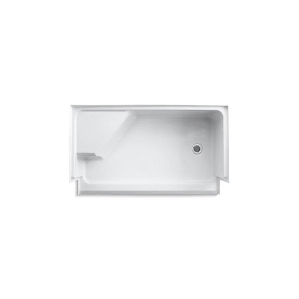 Base de douche en acrylique blanc Memoirs de Kohler de 36 po L x 60 po l avec drain à droite