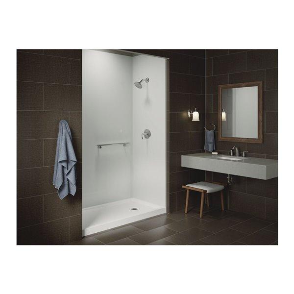 Base de douche en acrylique blanc Rely de Kohler de 32 po L x 60 po l avec drain à droite