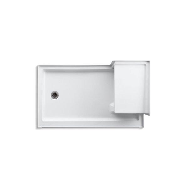 Base de douche en acrylique blanc Tresham de Kohler de 36 po L x 60 po l avec drain à gauche