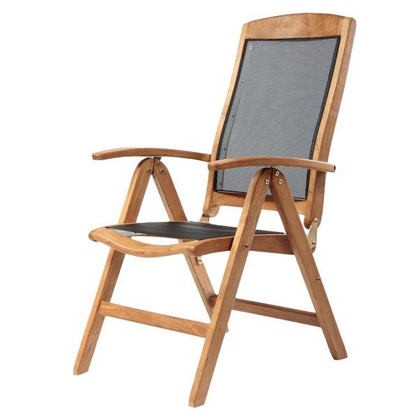 Chaise inclinable en bois de teck naturel Colorado avec assise en maille noir par ARB Teak & Specialties