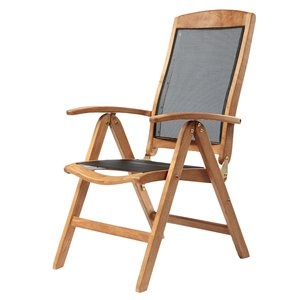 ARB Teak & Specialties Colorado Natural Teak Wood Recliner Chair With Black Mesh Seat