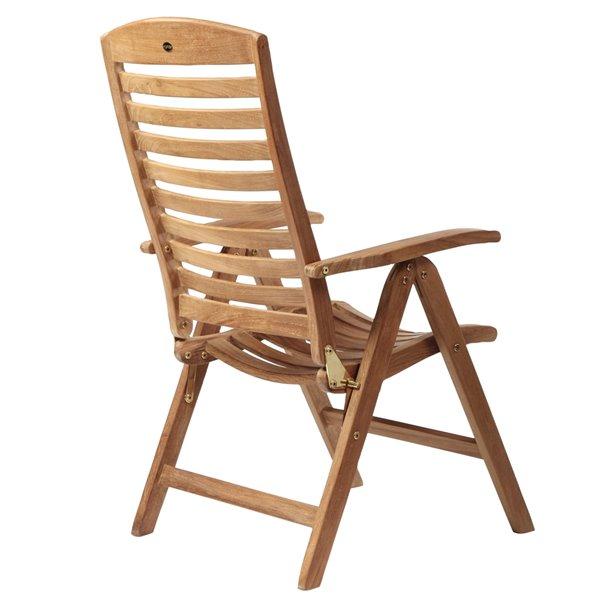 Chaise inclinable en bois de teck naturel Manhattan avec assise à lattes par ARB Teak & Specialties