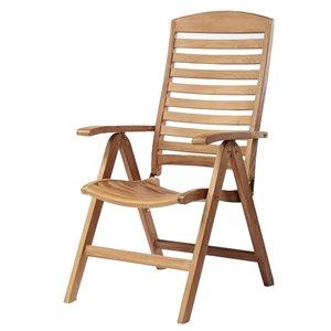 ARB Teak & Specialties Manhattan Natural Teak Wood Recliner Chair With Slat Seat