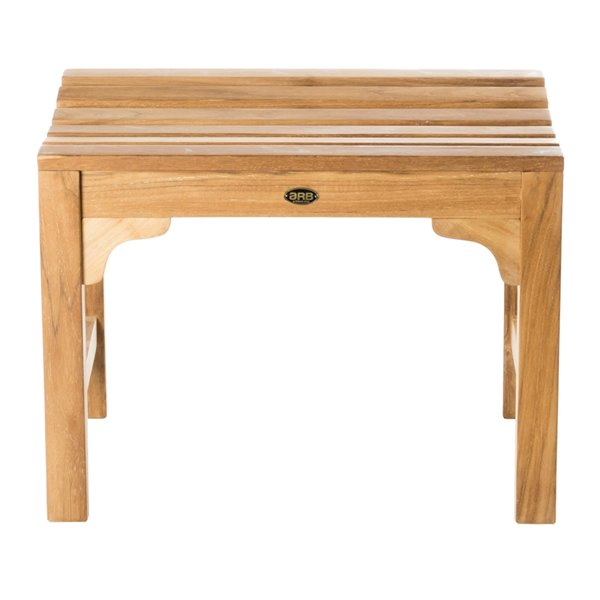 Siège de douche incurvé sur pied 24 po en bois de teck naturel par ARB Teck & Specialties (conforme à l'ADA)