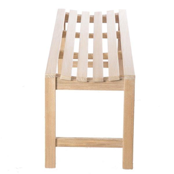 Siège de douche incurvé sur pied 47 po en bois de teck naturel par ARB Teck & Specialties (conforme à l'ADA)