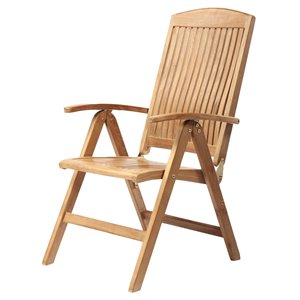 ARB Teak & Specialties Colorado Natural Teak Wood Recliner Chair With Slat Seat