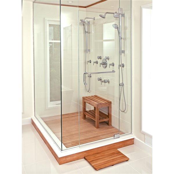 Siège de douche sur pied en bois de teck naturel 24 po par ARB Teck & Specialties (conforme à l'ADA)
