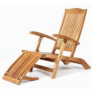 ARB Teak & Specialties Colorado Natural Teak Wood Lounge Chair With Slat Seat