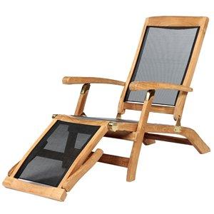 ARB Teak & Specialties Colorado Natural Teak Wood Lounge Chair With Black Mesh Seat