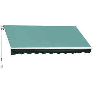 OutSunny 120-in W x 120-in Projection Green Solid Slope Low Eave Window/door Manual Retraction Awning