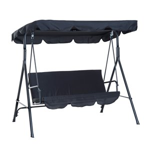 OutSunny Swing Chair 3-person Black Steel Outdoor Swing with Frame and Canopy Black
