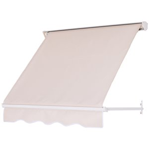 OutSunny 48-in W x 48-in Projection White Solid Slope Low Eave Door Manual Retraction Awning
