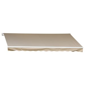 OutSunny 144-in W x 144-in Projection White Solid Slope Low Eave Window/door Manual Retraction Awning