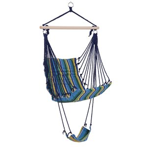 Outsunny Hanging Chair Blue Fabric Hammock Chair