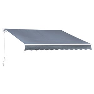 OutSunny 120-in W x 120-in Projection Gray Solid Slope Low Eave Window/door Manual Retraction Awning