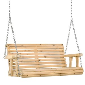 OutSunny Swing Chair 2-person Nature Wood Wood Outdoor Swing