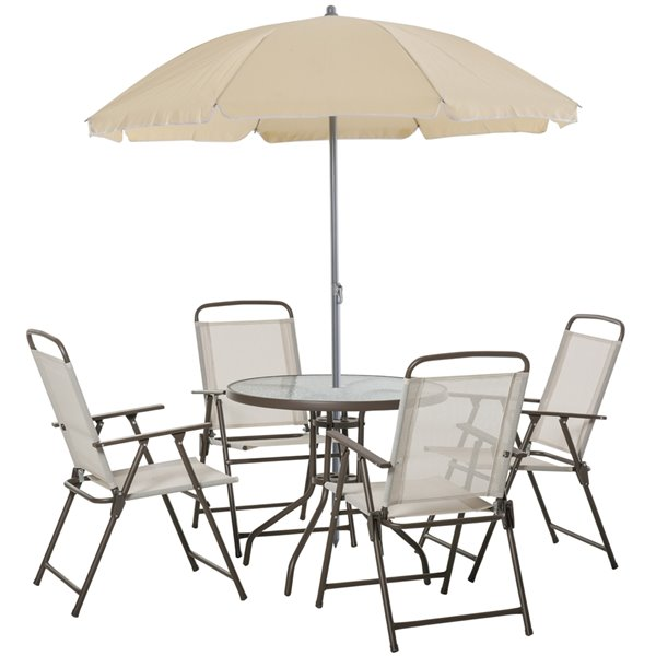 Outsunny Furniture Sets 5-piece Off-white Dining Patio Dining Set With Cream-white Dining