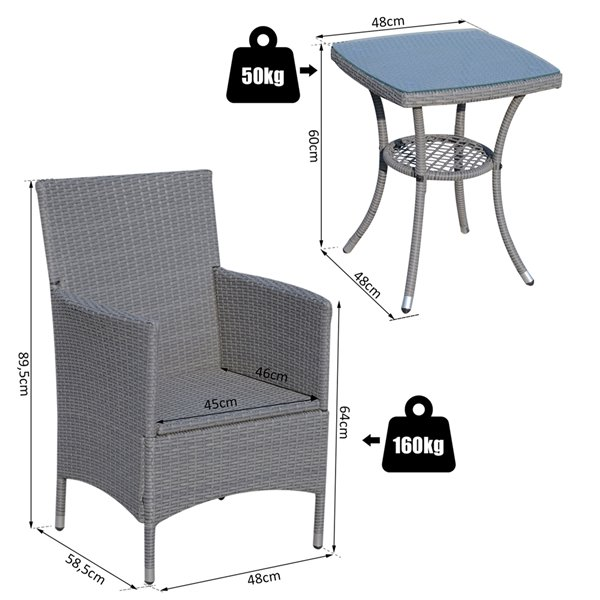Outsunny Coffee Sets 3-piece Gray Dining Patio Dining Set With Grey Cushion(s) Included Dining