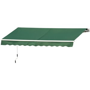 OutSunny 144-in W x 144-in Projection Green Solid Slope Low Eave Window/door Manual Retraction Awning