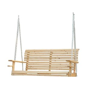 OutSunny Swing Chair 2-person Wood Color Wood Outdoor Swing