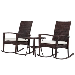 Outsunny Rocking Chair Set 3-piece Brown Bistro Patio Dining Set With Brown, Cream White Cushion(s) Included Bistro