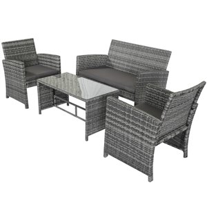 Outsunny 4Pcs Rattan Sofa Set Patio Wicker Lawn Cushion Table Chair Deep Grey