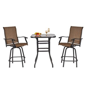 Outsunny Garden Table Set 3-piece Brown Bistro Patio Dining Set With Brown Bistro
