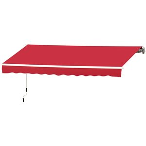 OutSunny 144-in W x 144-in Projection Red Solid Slope Low Eave Window/door Right Motor Retractable Awning