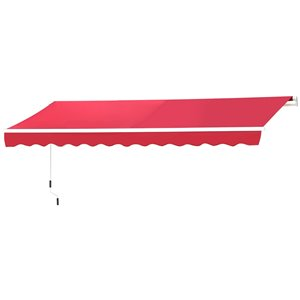 OutSunny 120-in W x 120-in Projection Red Solid Slope Low Eave Window/door Manual Retraction Awning