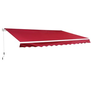 OutSunny 156-in W x 156-in Projection Red Solid Slope Low Eave Window/door Manual Retraction Awning
