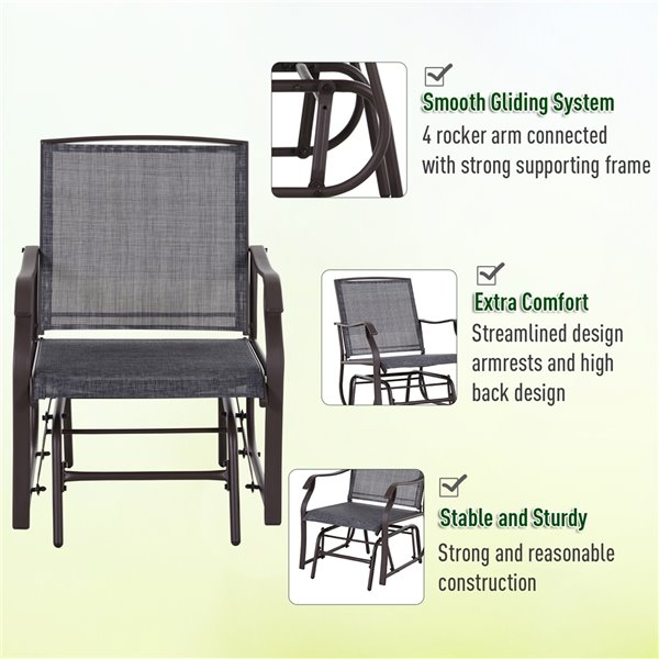 Outsunny Rocking Chair Set 2 Person, Outdoor Glider Chair Set