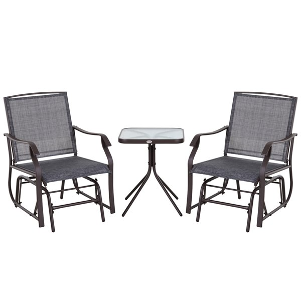 Outsunny Rocking Chair Set 2 Person, Outdoor Rocking Chairs Set Of 2