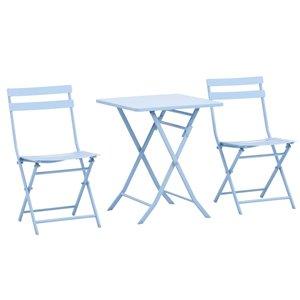 Outsunny Bistro Set 3-piece Blue Dining Patio Dining Set