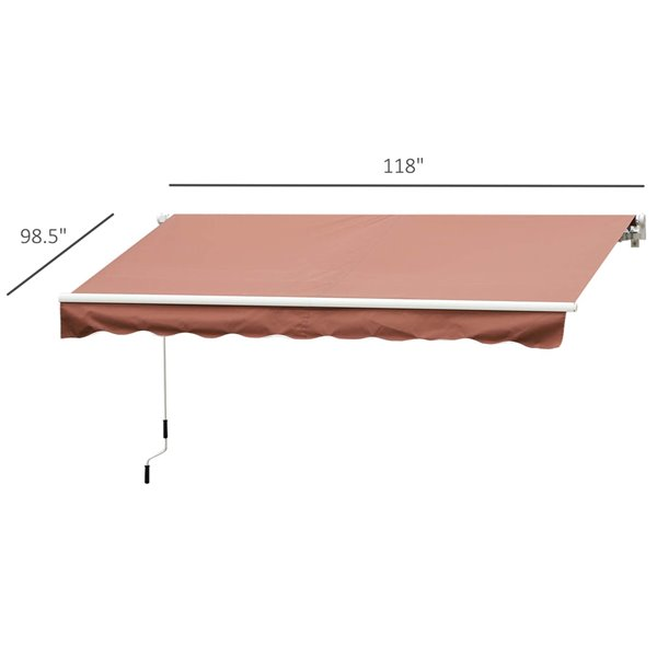 OutSunny 120-in W x 120-in Projection Brown Solid Slope Low Eave Window/door Manual Retraction Awning