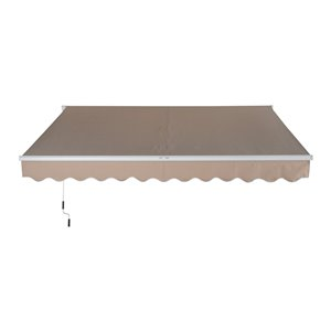 OutSunny 156-in W x 156-in Projection Brown Solid Slope Low Eave Window/door Manual Retraction Awning