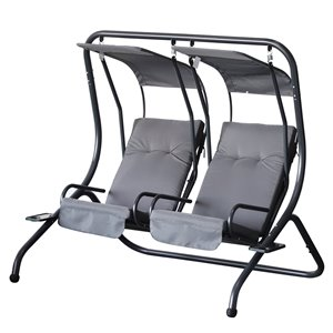OutSunny Swing Chair 2-person Black Steel Outdoor Swing with Grey Canopy