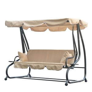 OutSunny Swing Chair 3-person Grey Steel Outdoor Swing