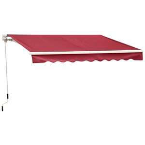 OutSunny 79.2-in W x 96-in Projection Red Solid Slope Low Eave Window Manual Retraction Awning