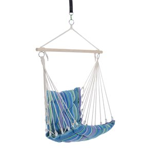 Outsunny Hanging Chair Blue and Grey Fabric Hammock