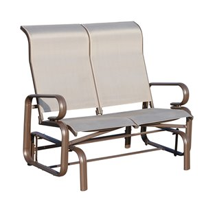 OutSunny Rocking Chair 2-person Brown Steel Outdoor Glider