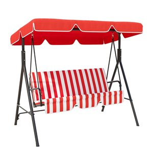 OutSunny Swing Chair 3-person Black Steel Outdoor Swing - Frame Canopy Red & White