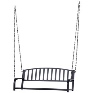 OutSunny Swing Chair 2-person Steel Outdoor Swing in Black