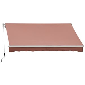 OutSunny 156-in W x 156-in Projection Brown Solid Slope Low Eave Window/door Right Motor Retractable Awning