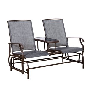 OutSunny Rocking Chair 2-person Black Steel Outdoor Glider