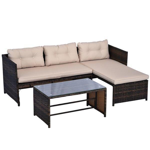 Outsunny 3pcs Rattan Wicker Sofa Patio, Patio Furniture 3 Piece Sectional Sofa Resin Wicker Beige